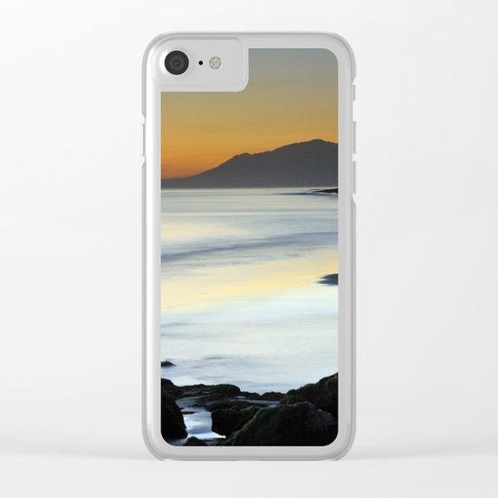 """Serenity beach"". Orange sunset Clear iPhone Case"