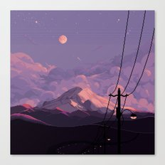 Mt Rainier with Powerlines Canvas Print