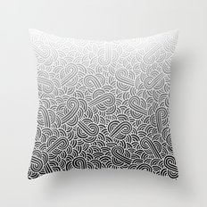 Ombre black and white swirls doodles Throw Pillow