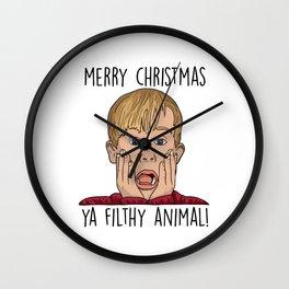 Merry Christmas Ya Filthy Wall Clock