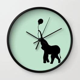 Elephant with Balloon - Mint Wall Clock