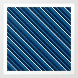 Repp Tie Pattern No. 8 (Diagonal Blue Shades) Art Print