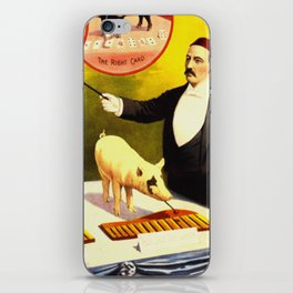 Vintage Circus Poster - Trained Pigs iPhone Skin