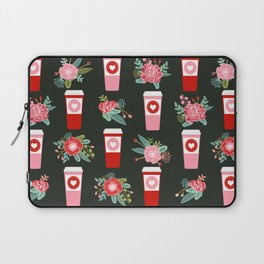 Coffee florals modern valentines day gifts for coffee lovers floral botanical bouquet Laptop Sleeve