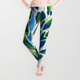 Blue and Green Leaves Leggings