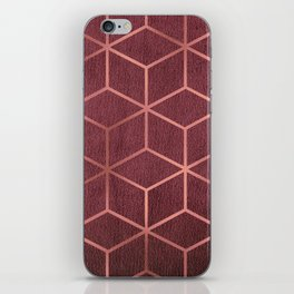 Pink and Rose Gold - Geometric Textured Gradient Cube Design iPhone Skin