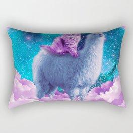 Rainbow Llama - Cat Llama Rectangular Pillow