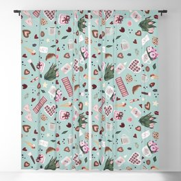 Green Blue Pastel Valentine Pattern Blackout Curtain