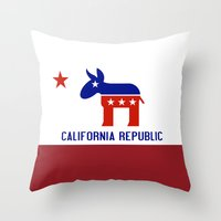 political Throw Pillows featuring Political California Republic Democrat by NorCal