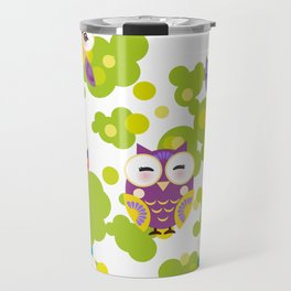 bright colorful owls and green leaves on white background Travel Mug