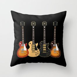 Four Electric Guitars Throw Pillow