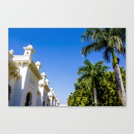Blue Skies and Palm Trees Lining the Pathway at Chowmahalla Palace Canvas Print