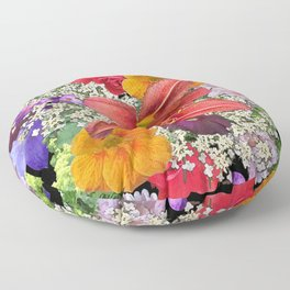 Newt in multi color floral Floor Pillow
