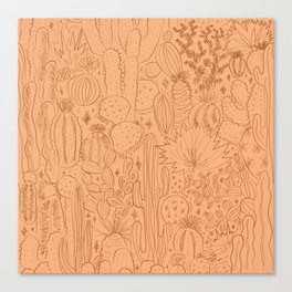 Cactus Scene in Orange Canvas Print