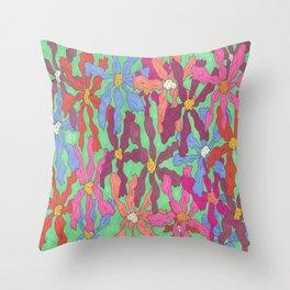 Colorful Retro Floral Print Throw Pillow