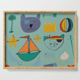 cat and bear at the beach blue green Serving Tray