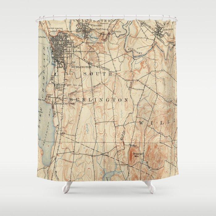 Vintage Burlington Vermont Topographic Map 1904 Shower Curtain By