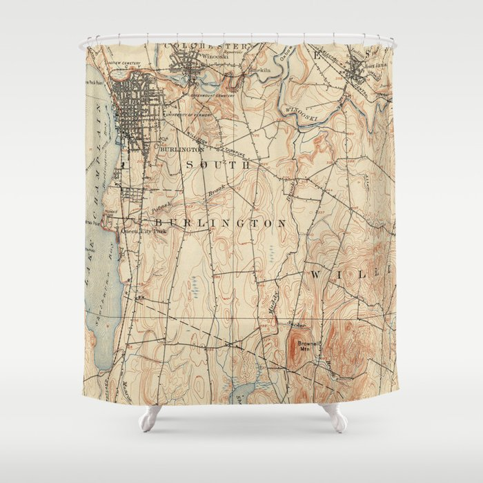 Vintage Burlington Vermont Topographic Map (1904) Shower Curtain by ...