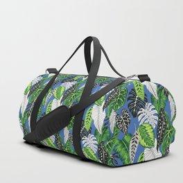tropical marker blue pattern Duffle Bag