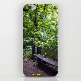 Wood Bench in the Middle of the Rainforest on the Mombacho Volcano in Nicaragua iPhone Skin