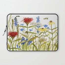 Garden Flower Bees Contemporary Illustration Painting Laptop Sleeve