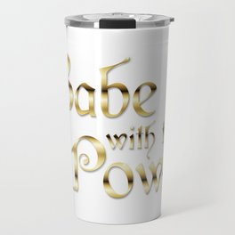 Labyrinth Babe With The Power (white bg) Travel Mug