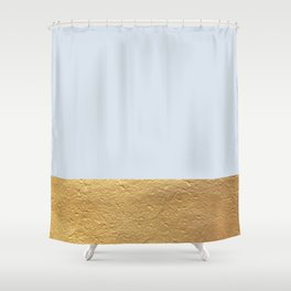 Color Blocked Gold & Periwinkle Shower Curtain