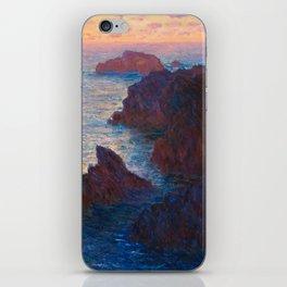 Claude Monet Impressionist Landscape Oil Painting Sunset At Sea Cliffs Ocean Cliff Landscape iPhone Skin