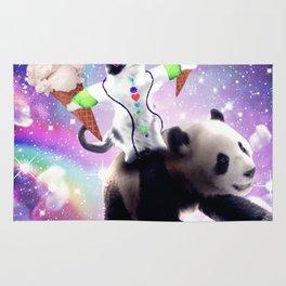 Lazer Rave Space Cat Riding Panda Eating Ice Cream Rug