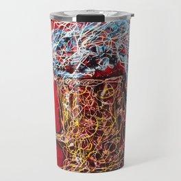 Abstract Beer - Inspired By Pollock  #society6 #wallart #buyart by Lena Owens @OLena Art Travel Mug