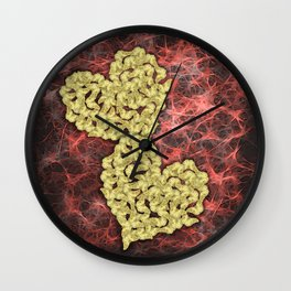 Romantic gold butterflies in an abstract webbed reality Wall Clock