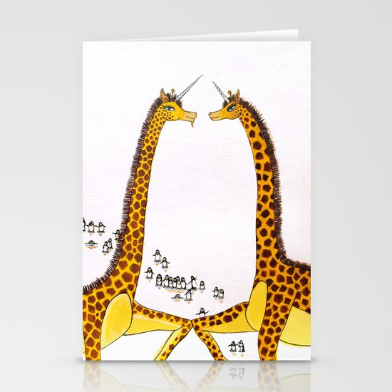 Unicorn Giraffes Dancing with Penguins Stationery Cards