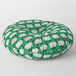 Wee Wooly Sheep in Aran Sweaters (shamrock green) Floor Pillow