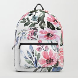 """Loose watercolor floral bouquet, """"Clara"""" Backpack"""