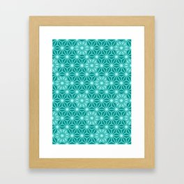 Japanese Asanoha or Star Pattern, Turquoise & Aqua Framed Art Print
