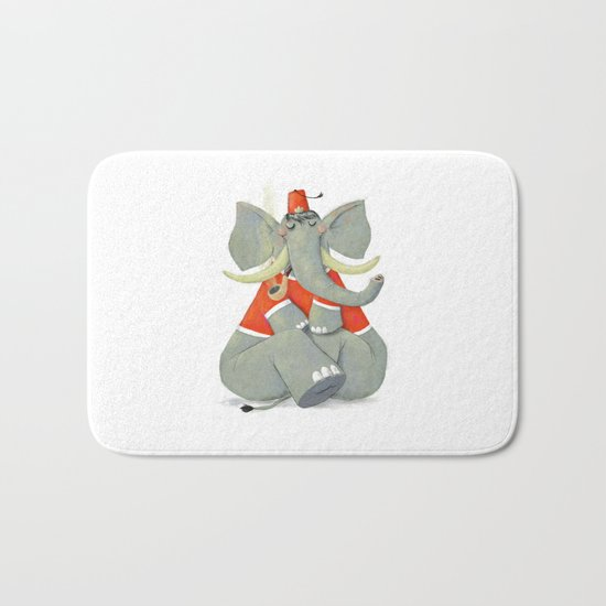 Elephant with Fez Smoking a Pipe Bath Mat