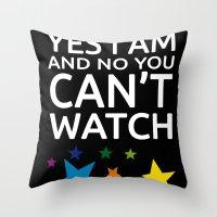 lesbian Throw Pillows featuring LESBIAN T SHIRT by Piensa Gay