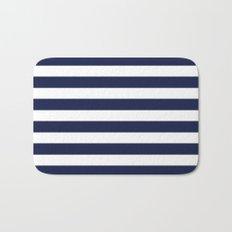 Stripe Horizontal Navy Blue Bath Mat