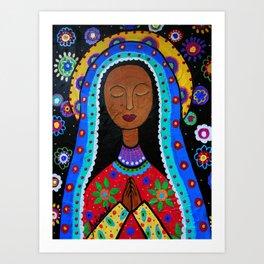 Mexican Folk Art Virgin Guadalupe Painting Art Print