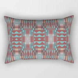 Aqua Turquoise Coral Red Brown Mosaic Pattern Rectangular Pillow