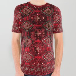 N129 - Epic Royal Red Oriental Traditional Moroccan Style Fabric Design  All Over Graphic Tee