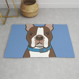 Brown Boston Terrier Art Poster Dog Icon Series by Artist A.Ramos. Designed in Bold Colors Rug