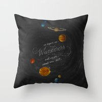 carl sagan Throw Pillows featuring Wanderers - Carl Sagan by Casey Ligon