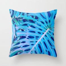 Monstera Blue Throw Pillow