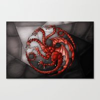 targaryen Canvas Prints featuring House Targaryen Stained Glass by itsamoose