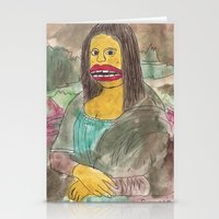 mona lisa Stationery Cards featuring Mona Lisa by GOONS