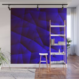 Dark contrasting blue fragments of crystals on triangles of irregular shape. Wall Mural
