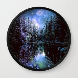 A Cold Winters Night : Violet Teal Green Winter Wonderland Wall Clock