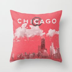 Chicago - Red Throw Pillow