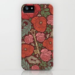 Red poppies and roses with golden keys on dark background iPhone Case